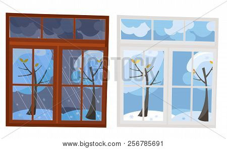 Set Of 2 Windows In Flat Style. A Wooden Brown Window Overlooking The Winter Evening, A White Plasti