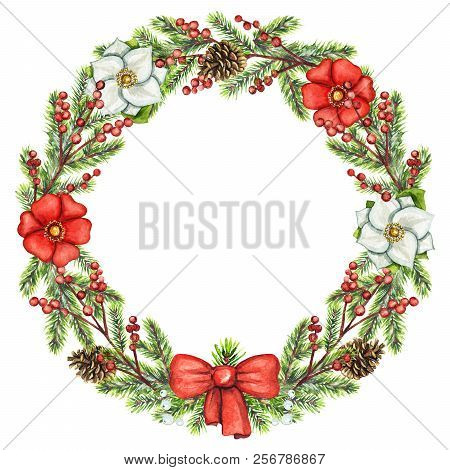 Round Christmas Wreath With Berries, Flowers, Cones, Bow And Spruce Branches Isolated On White Backg
