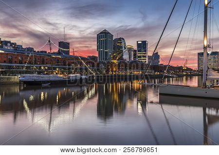 The Famous Neighborhood Of Puerto Madero At Night. Buenos Aires, Argentina.