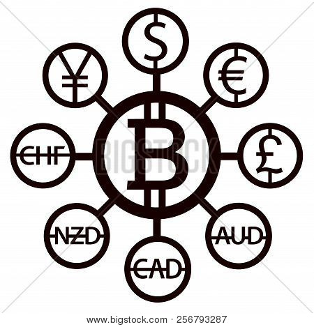 World Currencies Design Creative Concept With Signs: Dollar Icon, Bitcoin Coin, Euro Sign, Pend Ster