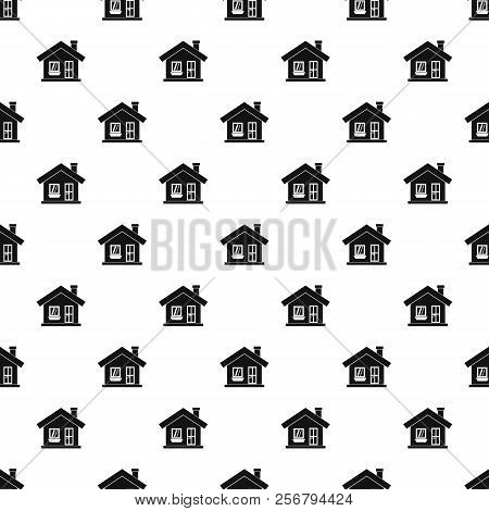 One-storey House With A Chimney Pattern. Simple Illustration Of One-storey House With A Chimney Patt