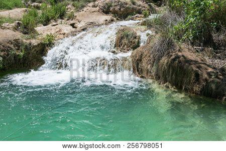Waterfall In Natural Environment. Natural Park Lagunas De Ruidera. Castilla La Mancha. Spain.