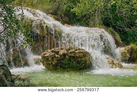Waterfall In Natural Park Lagunas De Ruidera. Castilla La Mancha. Spain.