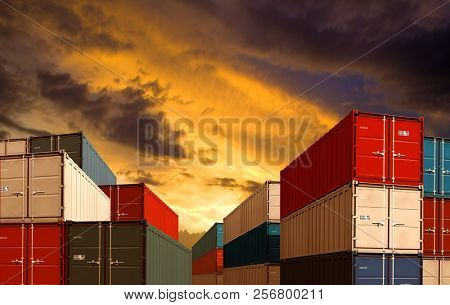export or import shipping cargo containers stacks in night port