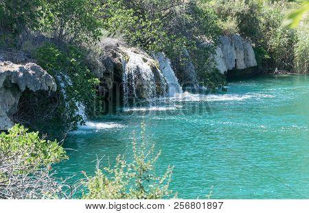 Waterfalls In Nature. Natural Park Lagunas De Ruidera. Spain.