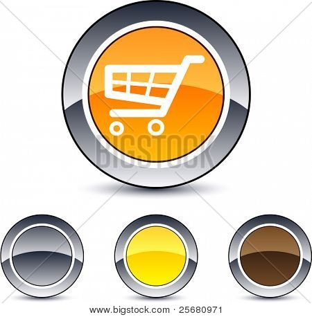 Shopping cart glossy round web buttons.