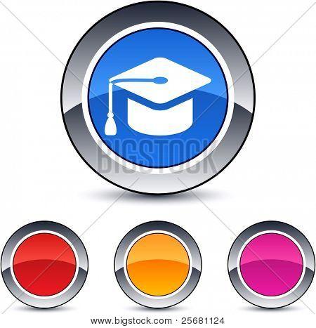 Graduation glossy round web buttons.