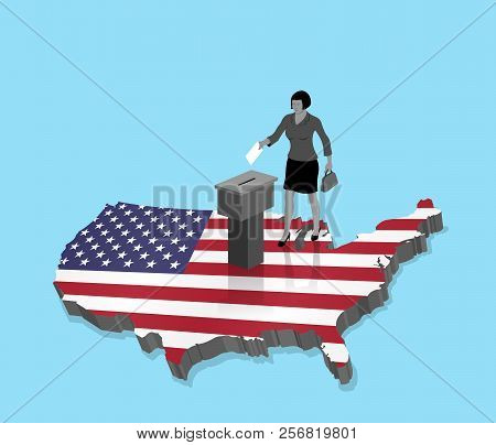 American citizen Voting for USA election over an 3D Map of US. All the objects, shadows and background are in different layers. poster