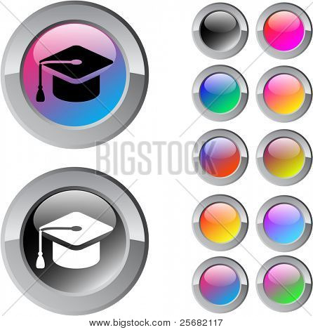 Graduation multicolor glossy round web buttons.