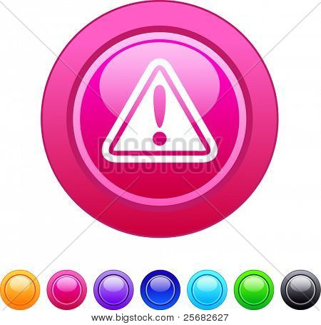 Exclamation sign glossy circle web buttons.