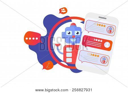 Isolated Chatbot Advisor Vector Illustration: Cute Automatic Chat Bot Support Robot And Smartphone.