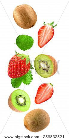 Falling Strawberries And Kiwi Isolated On White Background