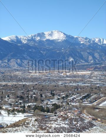 Pikes Peak With City Below