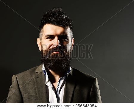 Businessman With Beard And Spiky Hair In Formal Wear. Business Confidence And Elegance Concept. Man