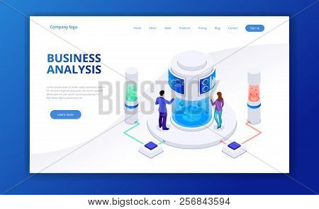 Isometric Business Strategy And Planning. Investments And Analysis Data. Vector Illustration For Pre