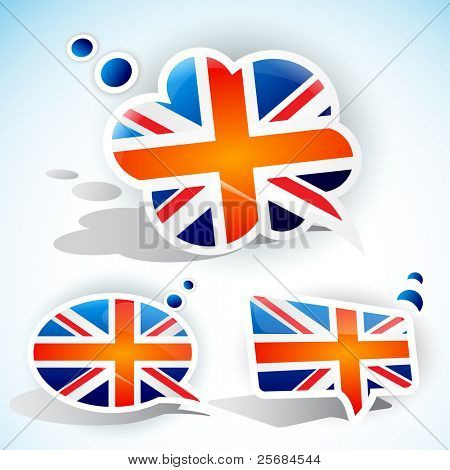 Flag of the United Kingdom. Speech bubble set