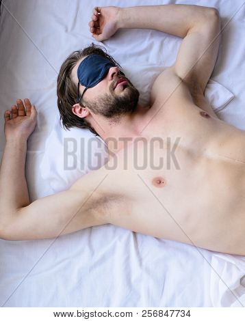 How Eye Mask Help Sleep Better. Man Sleepy Unshaven Bearded Face Sleep In Eye Mask. Guy Sexy Macho L