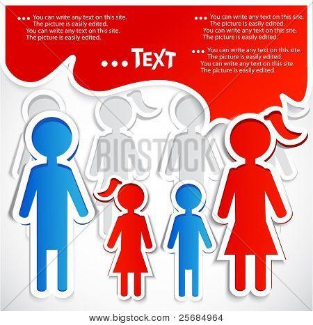 Family talking. Paper bubbles for  speech