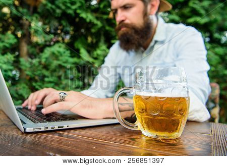 Football Fan Bearded Hipster Make Bet Sport Game Laptop. Betting And Real Money Gaming. Brutal Man L