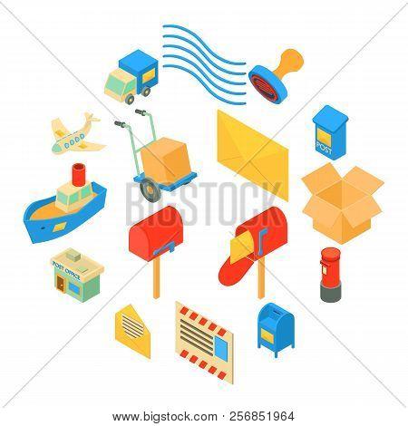 Poste Service Icons Set. Isometric Illustration Of 16 Poste Service Icons Set Icons For Web