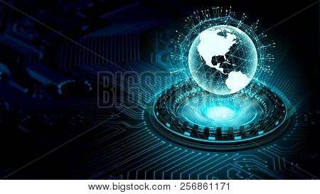 Internet Big Data And Information Technology Concept With A Worldwide Information Globe Projected Fr