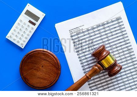 Declare Bankruptcy Concept. Start Of Bankruptcy Procedure. Judge Gavel, Financial Documents, Calcula