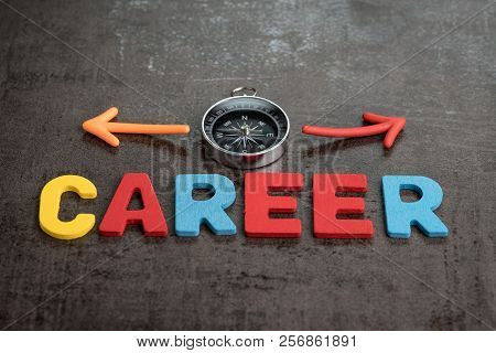 Company Career Path Job Opportunities Concept By Colorful Wooden Alphabets As Word Career And Compas