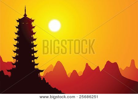 Chinese pagoda with mountains on the background