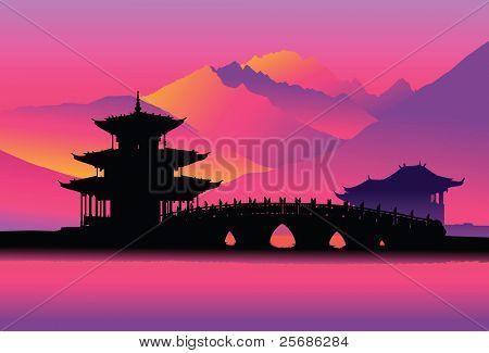 Pagoda and bridge (Lijang, China)