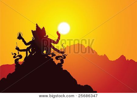 Silhouette Tibetan Goddess with mountains on the background.