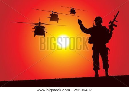 Soldier with helicopters on the background