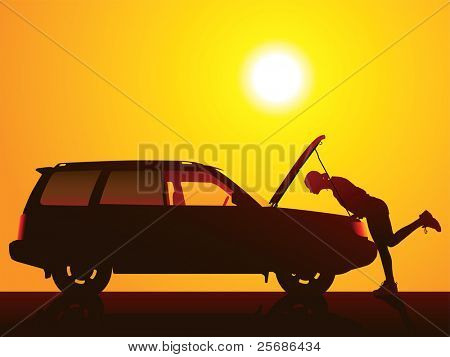 Young girl with and broken car.