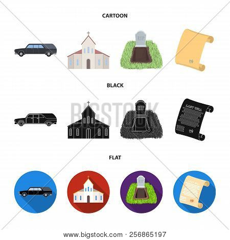 Black Cadillac To Transport The Grave Of The Deceased, A Church For A Funeral Ceremony, A Grave With