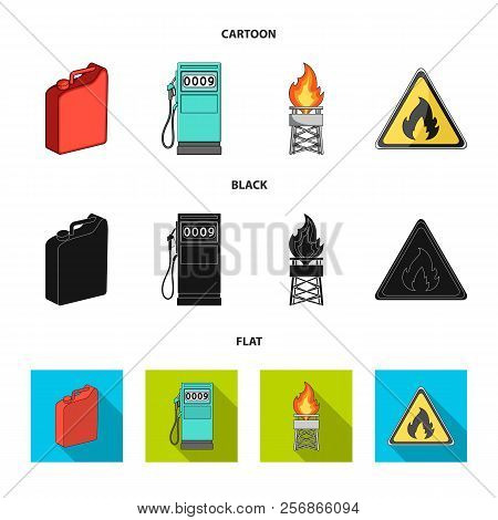 Canister For Gasoline, Gas Station, Tower, Warning Sign. Oil Set Collection Icons In Cartoon, Black,