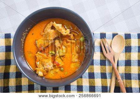 Close Up Panaeng Curry With Pork Or Red Curry With Pork (panang Pork)