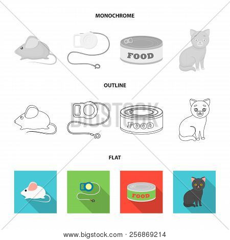 Mouse, Pet Leash, Pet Food, Kitten. Cat Set Collection Icons In Flat, Outline, Monochrome Style Vect