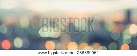 Golden Hour Sky With City Rooftop View Blur Background With Cityscape Business Corporate Office Buil