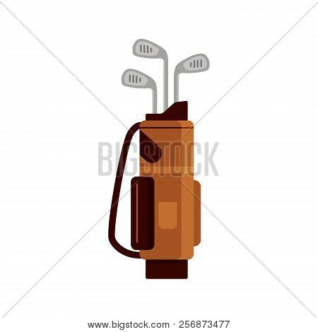 Golf Bag Icon Isolated On White Background, Flat Element For Golfing, Golf Equipment - Vector Illust