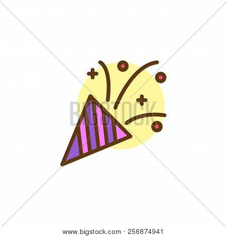 Confetti Popper Filled Outline Icon, Line Vector Sign, Linear Colorful Pictogram Isolated On White.