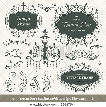 vector set: calligraphic design elements - lots of useful elements to embellish your layout