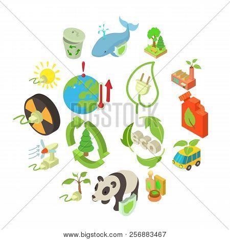 Ecology Icons Set. Isometric Illustration Of 16 Ecology Icons For Web