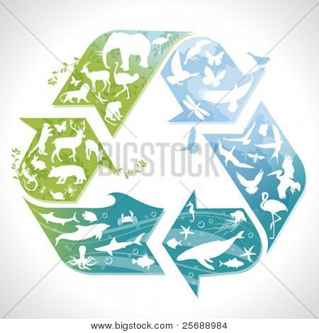 Recycling symbol with silhouettes of earth's animals