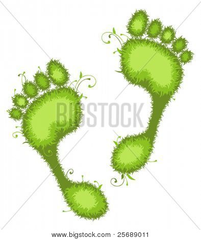 Vector illustration of green Eco footprints.