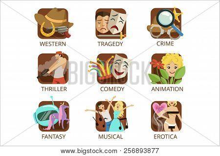 Movie Genres Set, Crime, Comedy, Animation, Western, Tragedy, Thriller, Fantasy, Musical, Erotica Co