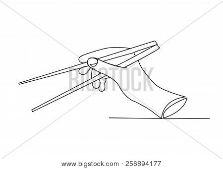 Continuous Single Drawn One Line Hand With Chopsticks Hand-drawn Picture Silhouette. Line Art.