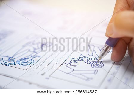 Storyboard Or Storytelling Drawing Creative For Film Process Pre-production Media Films Story Script