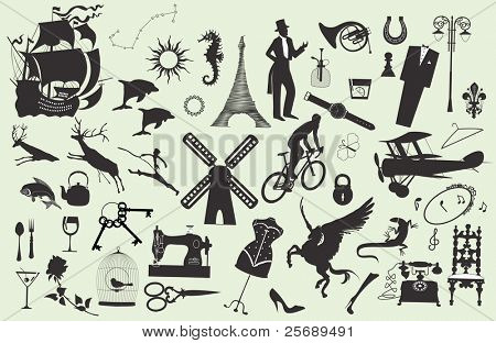 Set of different silhouettes on various subjects