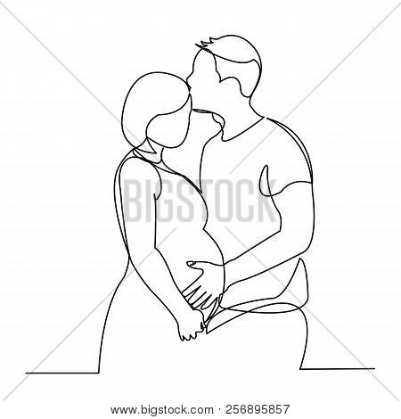 Continuous Single Drawn One Line Of Enamored Conjugal Pregnant Couple Drawn By Hand Picture Silhouet