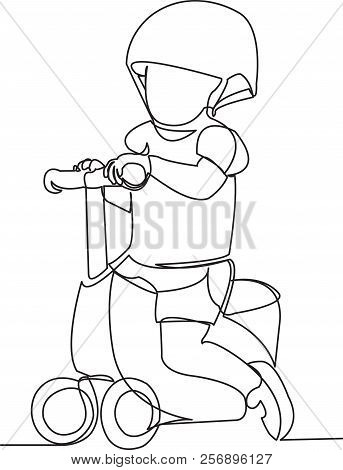 Continuous Single Drawn One Line Child On A Bicycle, A Bicycle Without Pedals. Hand-drawn Picture Si
