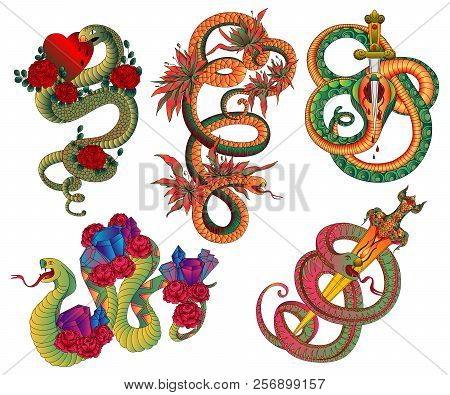 Snakes Set. Old School Tattoo Design. Black And White Isolated Elements. Vector Illustration